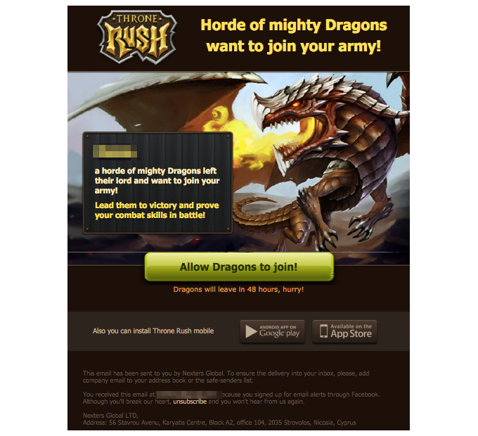Throne Rush email