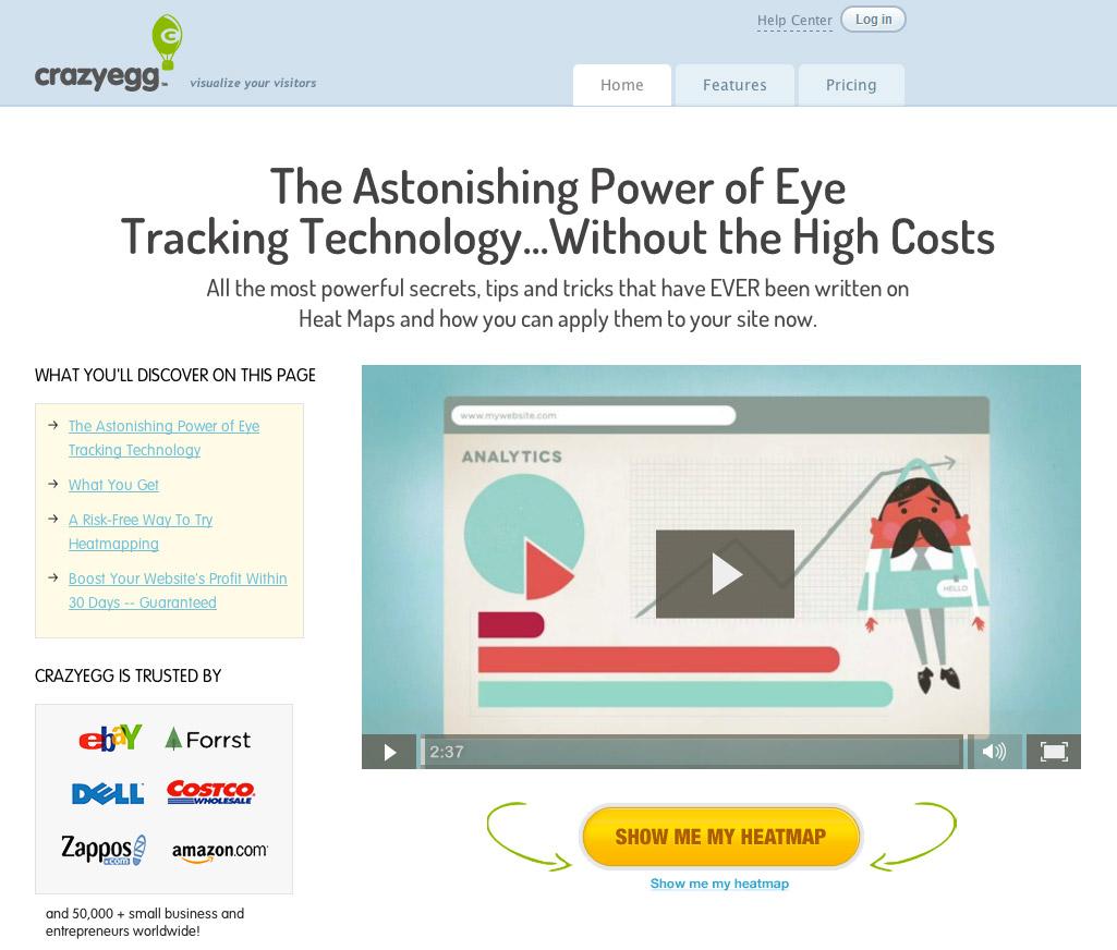 Пример видео на лендинге CrazyEgg
